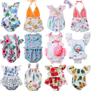 Fashion-Newborn-Kids-Baby-Girl-Flower-Romper-Jumpsuit-Sunsuit-Outfits-Clothes-US