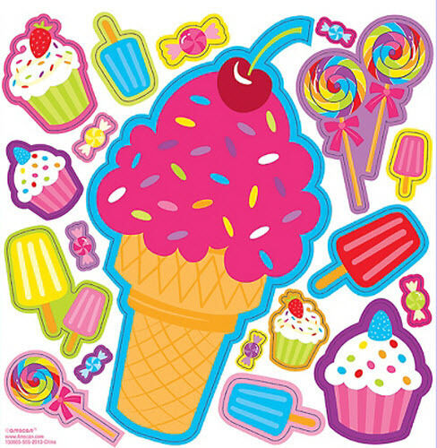 SWEET TREATS wall stickers 19 decals party wall decor candy cupcakes ice cream