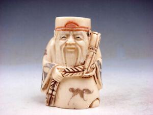 Hueso-Detallado-Mano-Japon-Articulo-Escultura-Antiguo-Hombre-Contiene-Rollo
