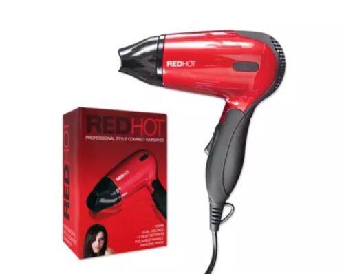 1200 WATT RED HOT Ultra compatto pieghevole da viaggio Doppio Voltaggio ASCIUGACAPELLI Blower