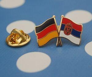 Freundschaftspin-Deutschland-Serbien-mit-Wappen-Pin-Button-Badge-Anstecker