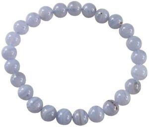 Bracelet Perles Rondes CALCEDOINE BLEUE - 8 mm