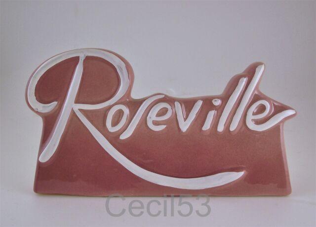 ROSEVILLE POTTERY DEALER CERAMIC SIGN PLAQUE PINK