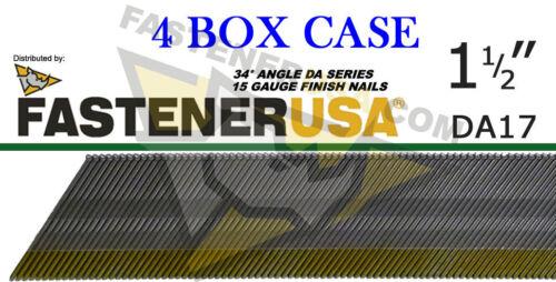 "Case of 4 DA17 15 Gauge Angled Finish Nails 34 Degree 1 1//2/"" 4,000 ct"