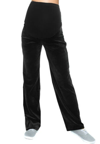 Umstandshose Velours mit Bauchband Schwangerschaftssporthose Yogahosen