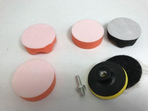 7Pcs 3inch Polishing Kit Sponge Foam Buffer Car HEADLIGHTS Buffing Pad M10 Drill