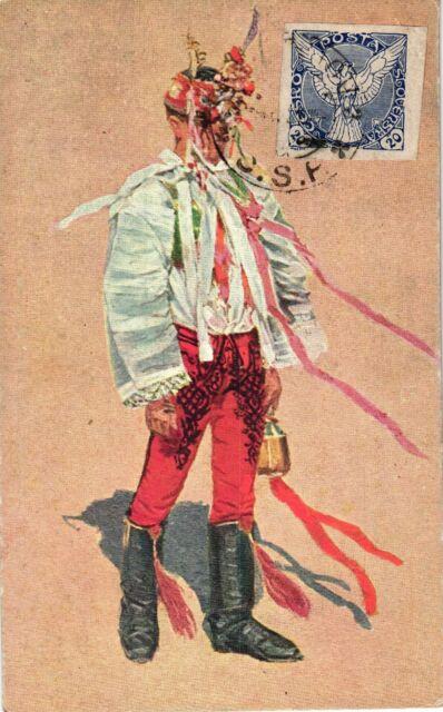 Mann in Trachtenkleidung, Künstlerkarte, Joza Uprka, Prag, ca. 30er Jahre