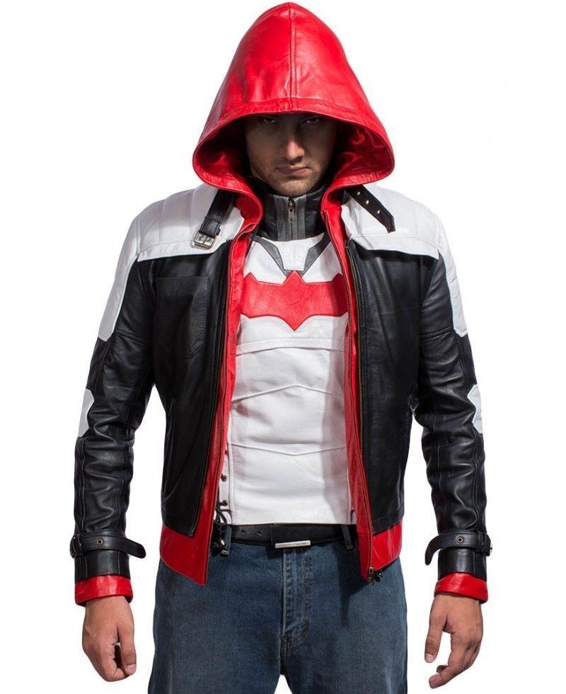 Batman Arkham Knight Game Red Hood Leather Jacket Costume -BNWT