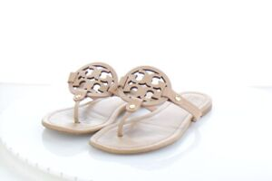 28-34-198-Women-039-s-Sz-9-M-Tory-Burch-Miller-Leather-Logo-Flat-Sandals