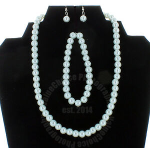Bridal & Wedding Party Jewelry Engagement & Wedding Faux Pearl Necklace Bracelet And Earring Set White Wedding Bridesmaid Women Girl