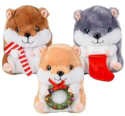7 Christmas Hamster Stuffed Animal Plush Holiday Toy Candy Cane Stocking Wreath