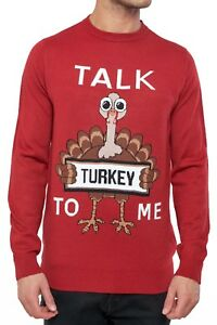 Christmas-Jumpers-Red-Novelty-Funny-Xmas-Knit-Top-Joke-Talk-Turkey-To-Me