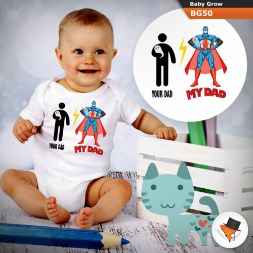 TUO PADRE MIO PAPà SUPEREROE FUNNY BABY GROW tutte le taglie 0-24 mesi 1 ^