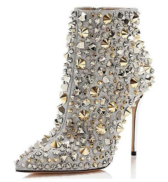 damen Rhinestones Rivet Pointed Toe Ankle Stiefel High Heels Stud Club schuhe F644