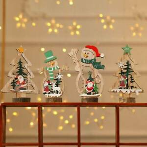Christmas-Decor-Wooden-Ornament-Santa-Claus-Snowman-Xmas-Tree-Hanging-Table-Gift