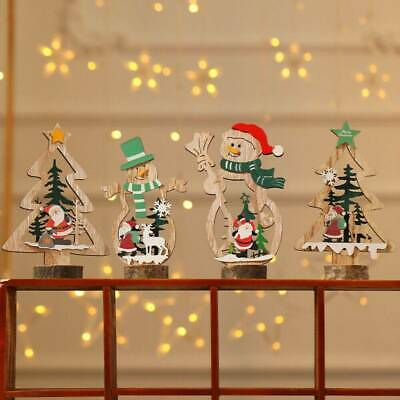 US Christmas Gift LED Snowman Santa Claus Ornament Xmas Tree Light Hanging Decor