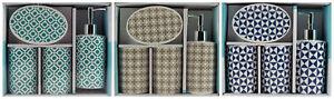 Ceramic-4pc-Bathroom-Set-Soap-Dispenser-Dish-Holder-Turquoise-Mocha-Navy