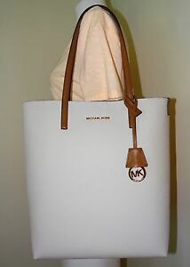 2140f9e81c4b Michael Kors Hayley Large North South PVC Vanilla Acorn Leather Tote ...