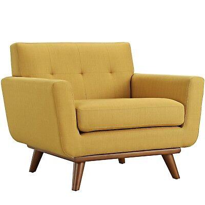 Mid Century Modern Engage Contemporary Armchair Wooden Legs Citrus Orange Brown 848387039011 Ebay