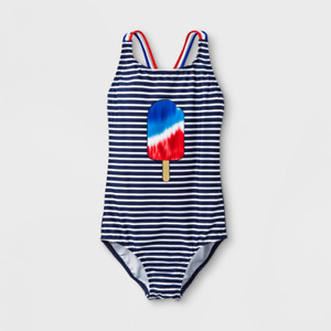 292035a98934 Cat & Jack Girl Popsicle Striped One Piece Bathing Suit Red White Blue Upf50