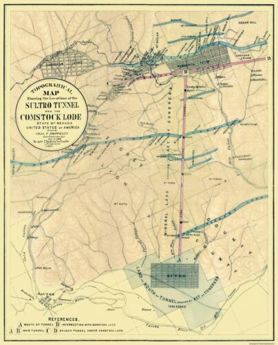 Comstock Lode Nevada Old Mining Map 1866-23 x 28.44 Sultro Tunnel