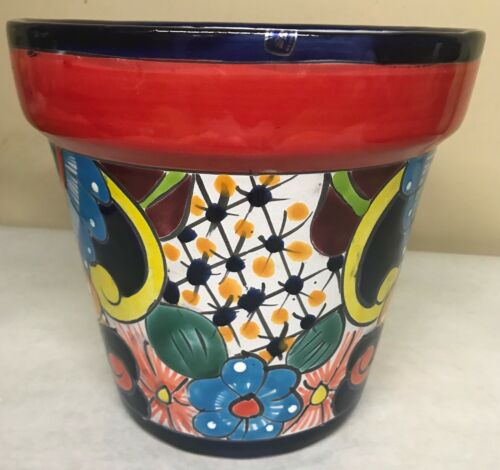 H-8 W-9 Authentic Mexican Pottery Hand Painted VASO #20 Talavera Planter