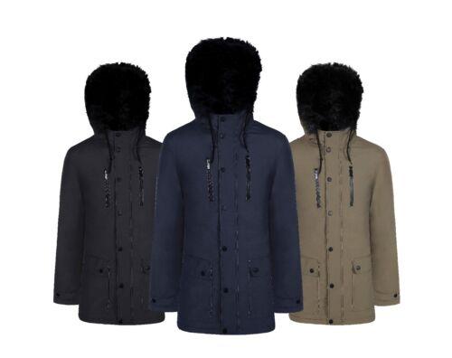 Men/'S Designer Nero Pelliccia Con Cappuccio Giacca Con Cappuccio Taglia PARKER Zip Trapunta Outerwear