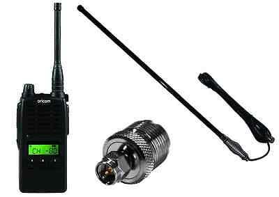 ORICOM UHF5500-1 5 WATT 80 CH HANDHELD UHF RADIO+AXIS CH5T BLACKANTENNA PACK