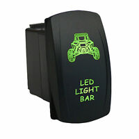 Rocker Switch 6b47g Laser Led Light Bar Dual Led Green 12v 20a Spst On-off