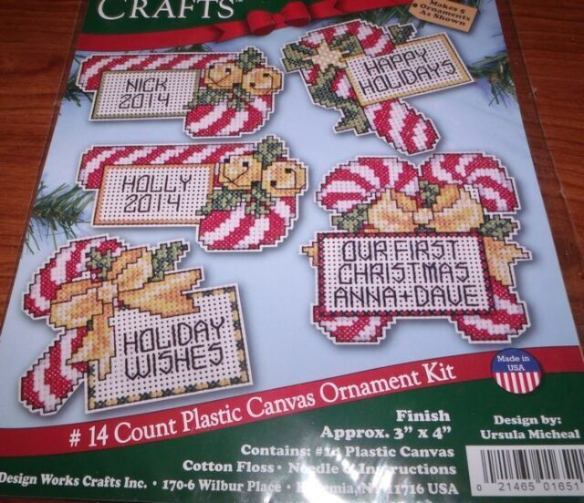 cross stitch kit design works set of 6 candy cane christmas ornaments pc dw1651