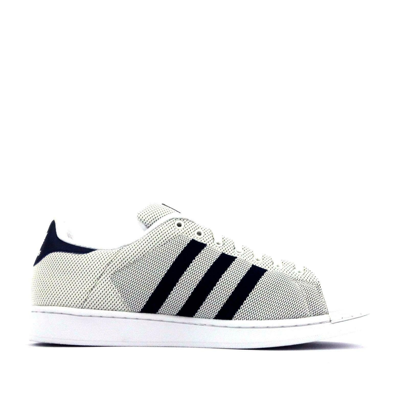 Mens ADIDAS SUPERSTAR White Navy Blue Textile Casual Trainers BB5795