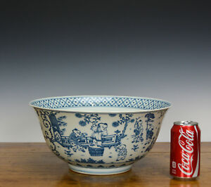 Rare-Massive-Important-Chinese-Blue-and-White-100-Boy-Playing-Porcelain-Bowl-13-034