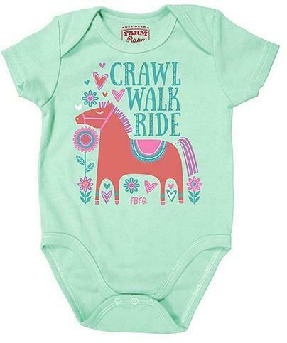 FAST SHIP! Ride /& I Love Moo FARM GIRL Baby Crawlers//Onsies Walk Crawl