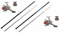 2 X Mitchell 12ft Beach Beachcaster Fishing Rods +lineaeffe Reels With Line