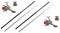 2 X Mitchell 10ft Beach Beachcaster Fishing Rods +lineaeffe Reels With Line