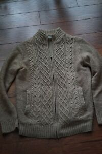 Uniqlo-Brown-wool-blend-Full-Zip-Up-Cable-Knit-Sweater-Men-039-s-Medium