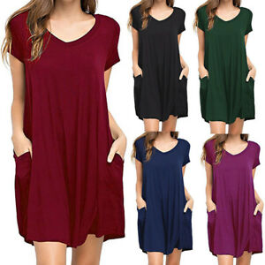 Women-Short-Sleeve-Skater-Swing-Dress-Oversized-Tunic-Loose-Fit-Long-T-Shirt-Top