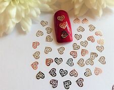 50 x Nail Art Silver Rose Gold Valentines Hearts Small Thin Metal Spangles 1VH