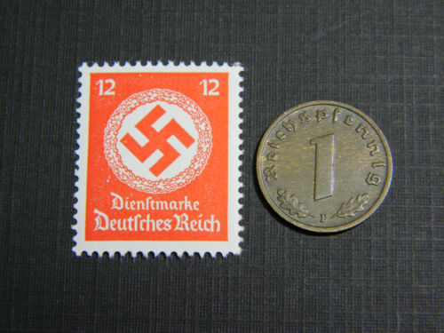 Authentic German Official Stamp WORLD WAR 2 and Antique German Coin