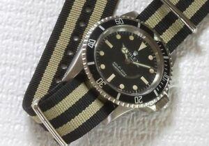 Long-watch-band-fits-any-wrist-Black-Khaki-Bond-20mm-band-nylon-military-5-sold