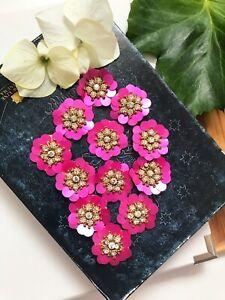 5 Pcs Latest Indian Round Flower layers of Sequence Rhinestone zardosi Applique