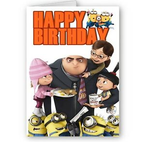 Despicable me minions gru family a5 happy birthday card ebay image is loading despicable me minions amp gru family a5 happy bookmarktalkfo Gallery