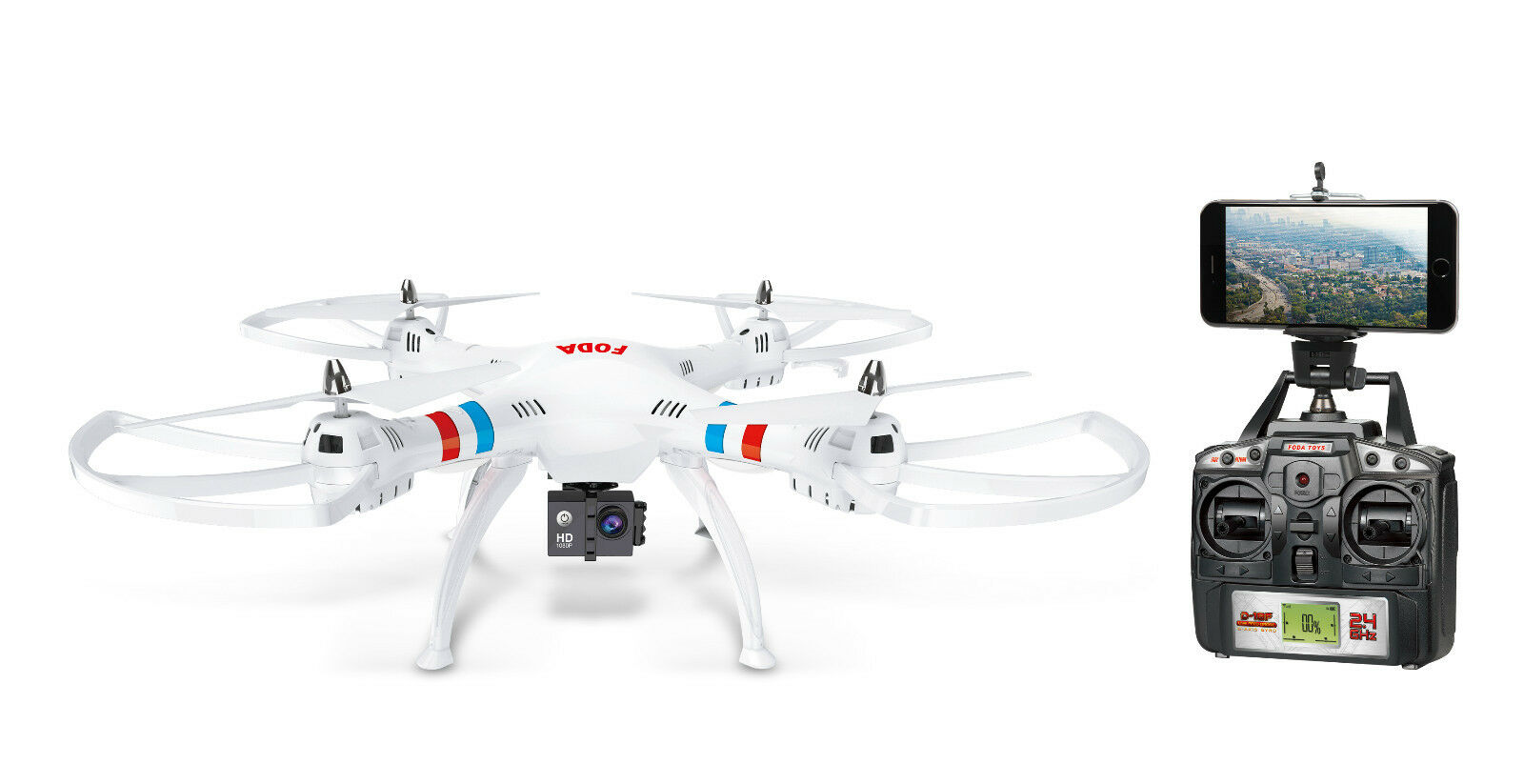 FODA D18F Large Quadcopter 63cm Drone With HD Camera and Live Wi-Fi Feed White