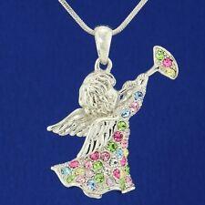 "W Swarovski Crystal Angel Cupid Trumpet Pendant Multi Color Necklace 18"" Chain L"