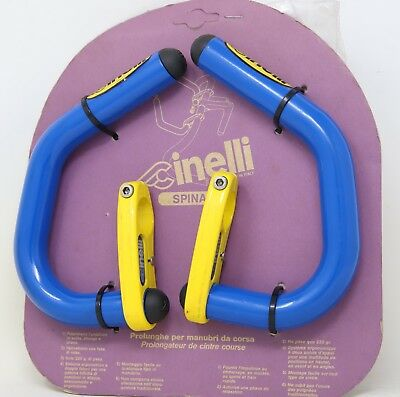 CINELLI SPINACI BAR EXTENSIONS AERO BULLHORN 90S VINTAGE BLUE YELLOW NOS