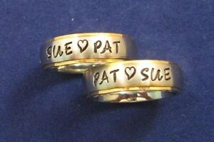 2-Stainless-Steel-6mm-Gold-Edge-Personalized-Couples-Name-Rings-Wedding-Bands