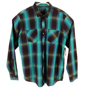 INC-International-Concepts-Mens-Button-Up-Shirt-Blue-Aqua-Plaid-Long-Sleeves
