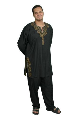 set Salwar Noir Tunique Kam00362 doré 3 Kameez Pakistanais Style Tlg Homme aqx75OwPA