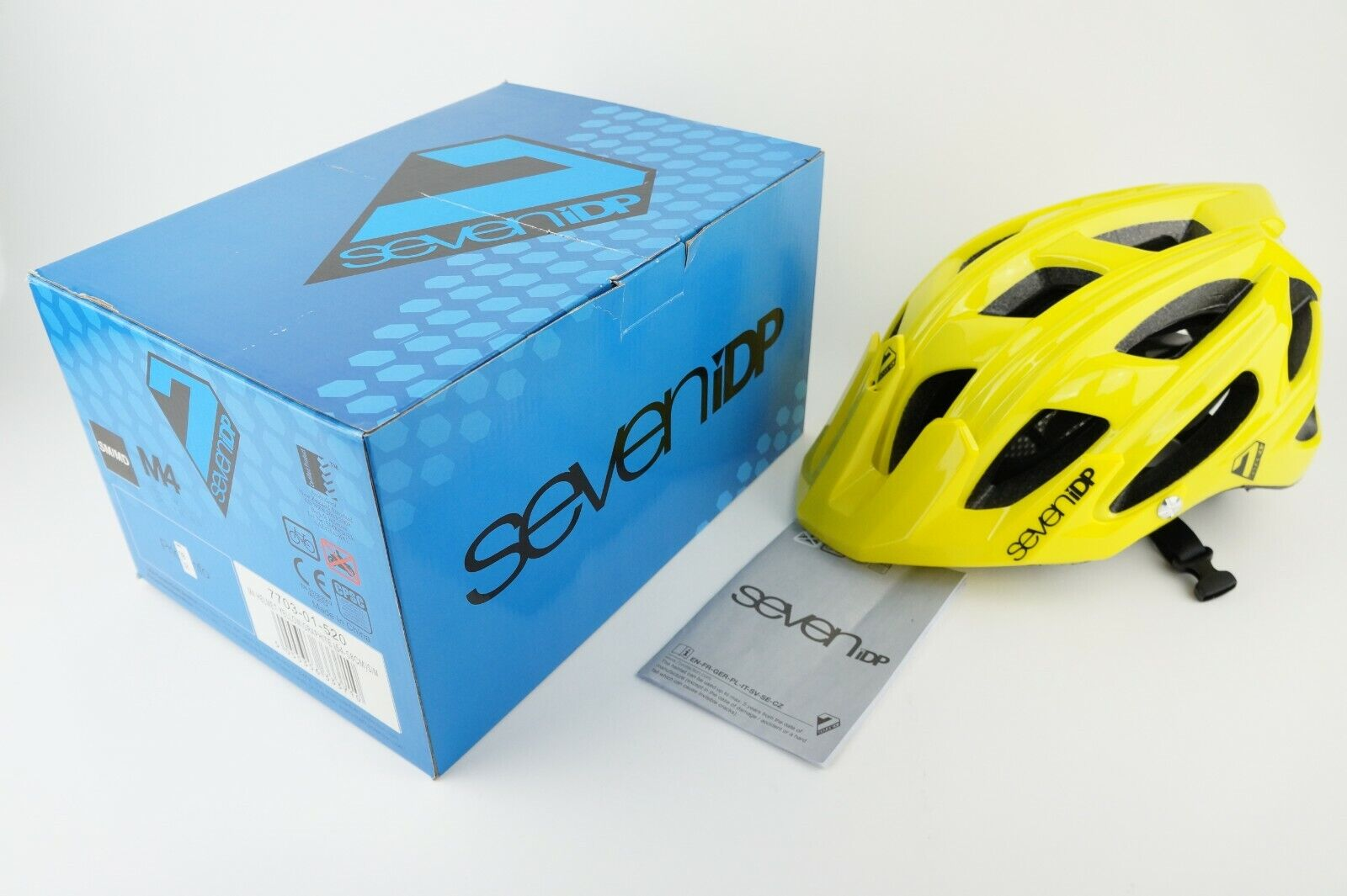 SeveniDP M4 MTB Yellow Graphite Mountain  Bike Bicycle Helmet  90 MSRP  new branded