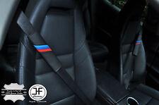 2X FOR BMW M STRIPES BLACK LEATHER BLACK STITCH LUXURY SHOULDER SEAT BELT PADS